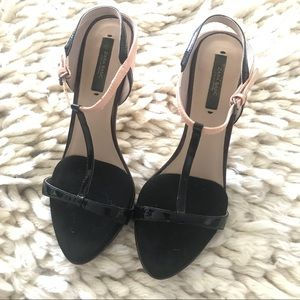 Zara nude black t strap sandals.